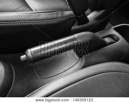 Parking handbrakes in automatic car black tone