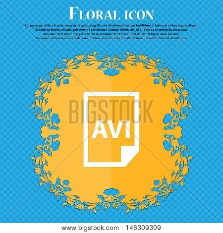 Avi Icon Icon. Floral Flat Design On A Blue Abstract Background With Place For Your Text. Vector
