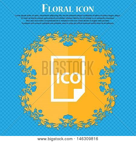 File Ico Icon Icon. Floral Flat Design On A Blue Abstract Background With Place For Your Text. Vecto