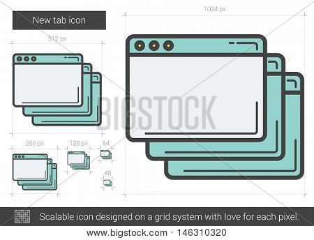 New tab vector line icon isolated on white background. New tab line icon for infographic, website or app. Scalable icon designed on a grid system.