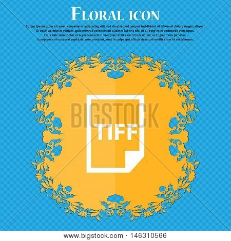 Tiff Icon. Icon. Floral Flat Design On A Blue Abstract Background With Place For Your Text. Vector