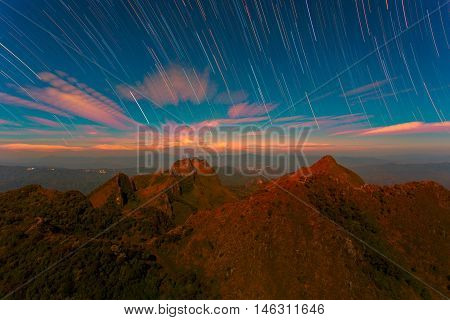 Startrail with Bright Stars and space dust at Doi Luang Chiang Dao High mountain in Chiang Mai Province Thailand