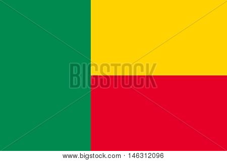 Flag of Benin in correct size proportions and colors. Accurate official standard dimensions. Beninese national flag. African patriotic symbol banner element background. Vector illustration poster