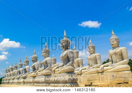 Buddha statue and blue sky Nakhon Si Thammarat Province Thailand.