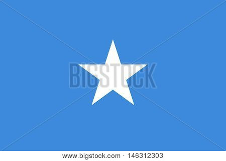 Flag of Somalia in correct size proportions and colors. Accurate official standard dimensions. Somali national flag. African patriotic symbol banner element background. Vector illustration