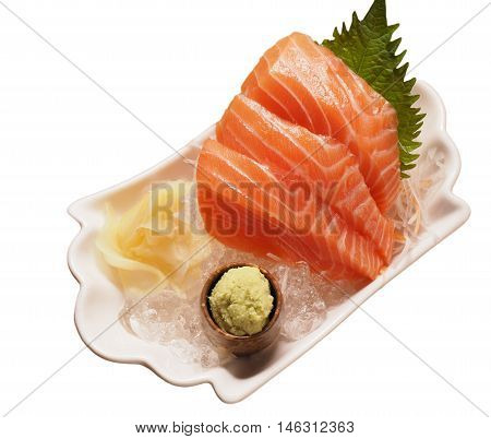 Fresh salmon sashimi isolated on white, japanese food