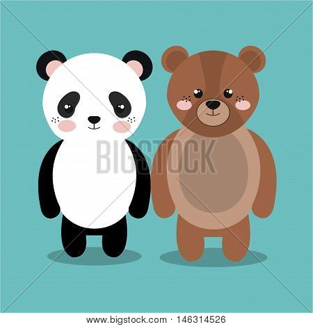 cartoon animal panda bear plush stuffed design vector illustration eps 10