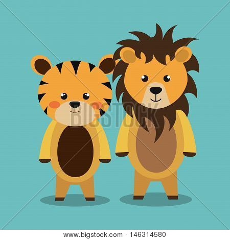 cartoon animal lion tiger plush stuffed design vector illustration eps 10