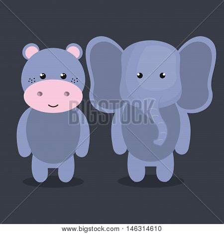 cartoon animal elephant hippo plush stuffed design vector illustration eps 10