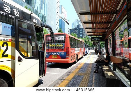 SEOUL, SOUTH KOREA 24: Bus station in Seoul on May 24,2016 at Seoul, South Korea.