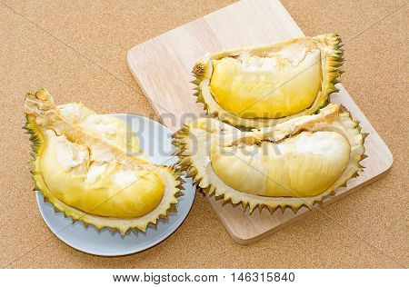 Durian fruit on wooden background , Durian the king of fruits in Thailand