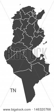 Tunisia grey map with regions isolated vector high res