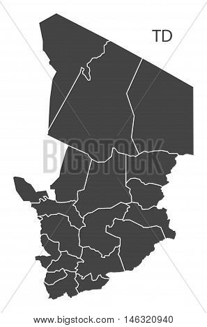 Chad grey map with regions isolated vector high res