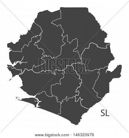 Sierra Leone grey map with regions isolated vector high res