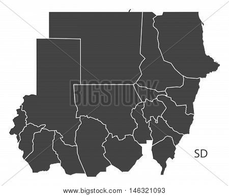 Sudan grey map with regions isolated vector high res