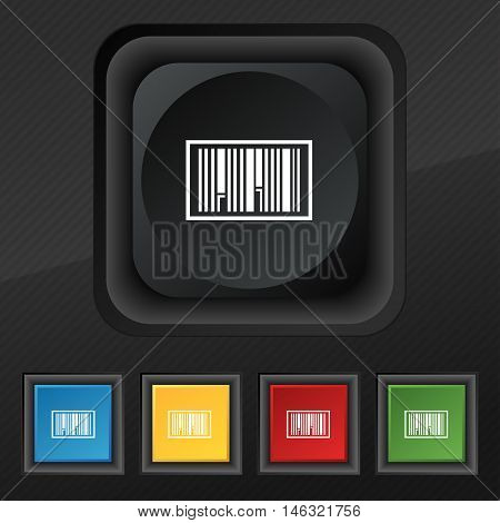 Barcode Icon Symbol. Set Of Five Colorful, Stylish Buttons On Black Texture For Your Design. Vector