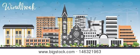 Windhoek Skyline with Color Buildings and Blue Sky. Business Travel and Tourism Concept with Modern Buildings. Image for Presentation Banner Placard and Web Site.