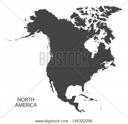 North America complete continent grey map isolated vector