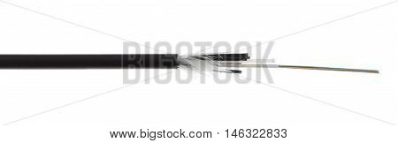 Fiber Optic Cable Detail Isolated On White