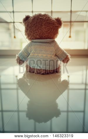 Lonely Teddy bear, lonely, sadly, in home