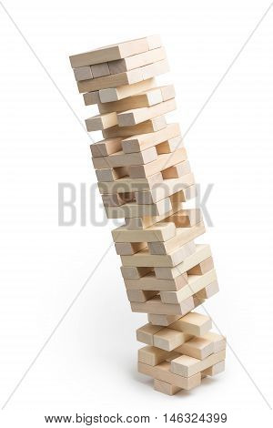 The collapse of the Jenga tower on a white background