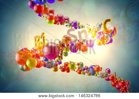 Abstrac 3D Rendering Glass Illustration. Vitamin Concept. Random Colored Spheres And Text With Vitam