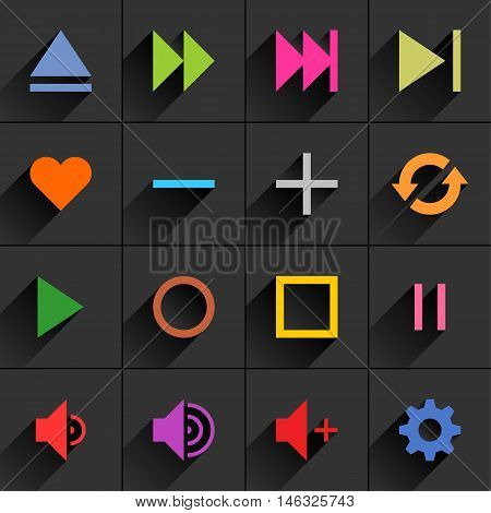 16 media control sign flat icon with gray long shadow. Blue green pink orange brown yellow violet purple red cobalt magenta signs on dark gray background. Vector illustration element 8 eps