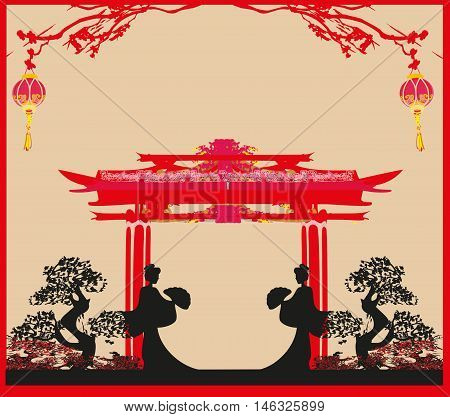 abstract landscape with geisha silhouette  , vector illustration