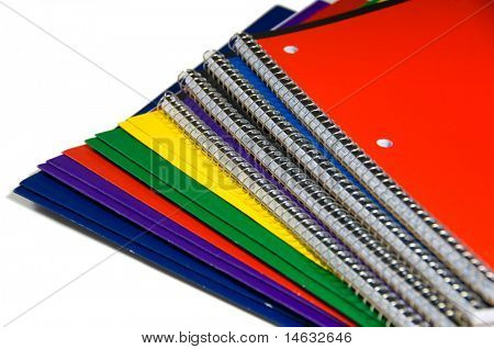 New colorful school supplies on white background