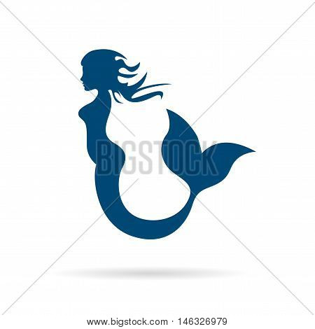 Vector sign blue mermaid silhouette, isolated illustration