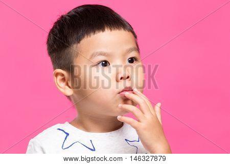 Little boy pout his lip