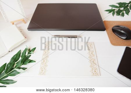 Styled Natural Eco Home Office. Smartphone, Paper For Notes, Notebook With Copy Space On White Backg