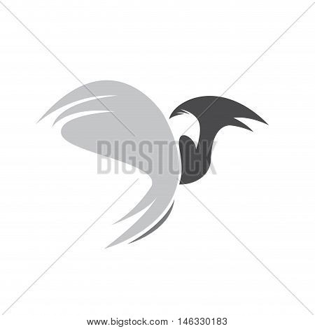 Vector sign eagle in flight, isolated illustration