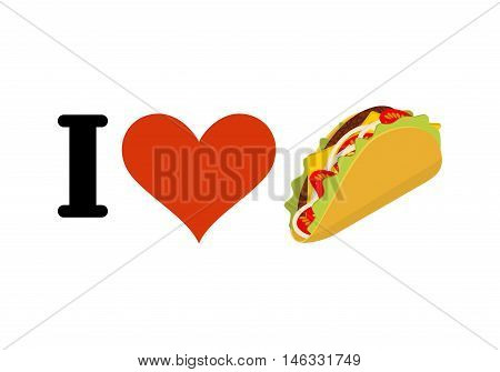 I Love Taco. Heart And Traditional Mexican Food. Tortilla Chips And Onion. Tomato And Fresh Meat. Lo