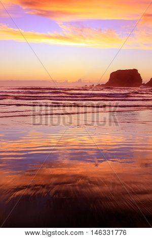 Eroded Cliffs On Sunset Background . Westport, New Zealand