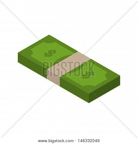 Stack Of Money Isometric. Tutu Of Dollars On White Background. Wad Of Cash Isolated