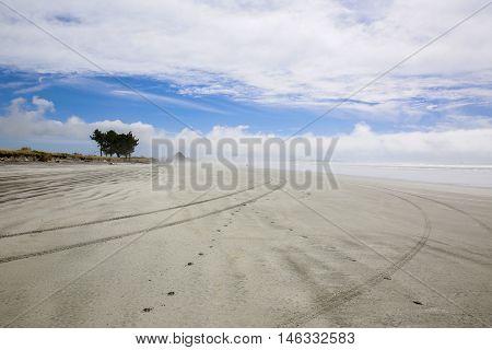 Sandy Beach In The Morning .westport Of New Zealand.