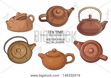 Brown teapots vector set on white background