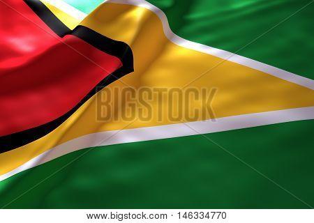 Guyana flag background , 3d rendering image