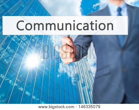 Communication - Business Man Showing Sign