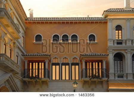 Traditional Venetian Architecture At Dusk