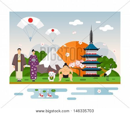 Famous Landmarks and national symbol of Japan. Vector Illustration