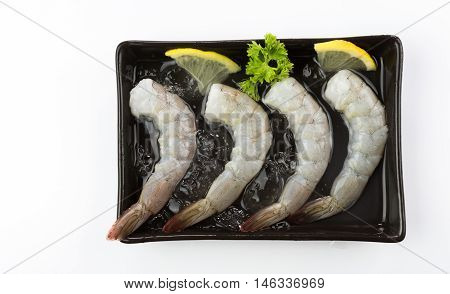 fresh Raw shrimp closeup food seafood isolated