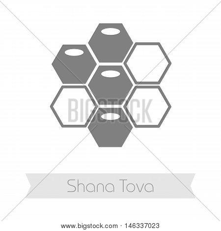 Bee honeycomb. Honey. Rosh Hashanah icon. Shana tova. Happy and sweet new year in Hebrew
