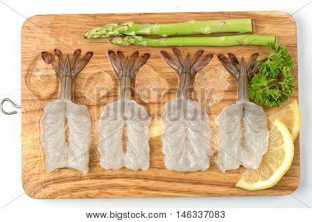 fresh Raw shrimp closeup food seafood isolated