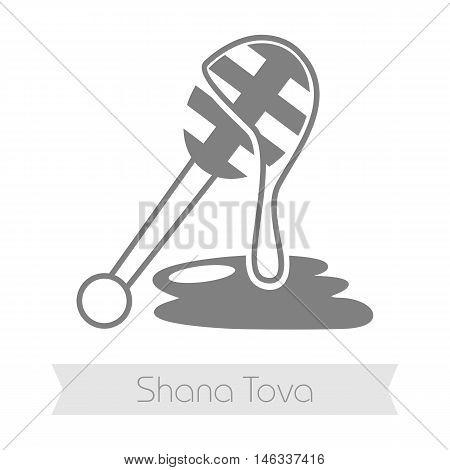 Honey dipper. Rosh Hashanah icon. Shana tova. Happy and sweet new year in Hebrew