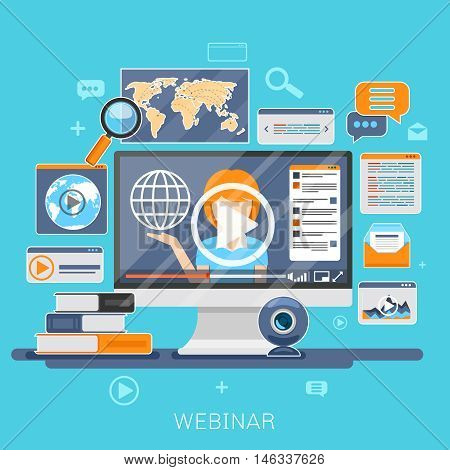 Webinar concept. Online education, e-training, internet learning, web seminar vector illustration
