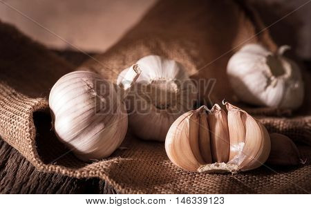 garlic bulbs with garlic cloves food  organic