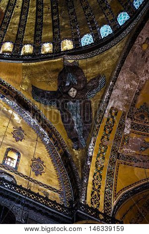 ISTANBUL TURKEY - APRIL 15 2015 : Seraphim in Hagia Sophia in Istanbul Turkey. Hagia Sophia is originally a Greek Orthodox church later an imperial mosque and now a museum.