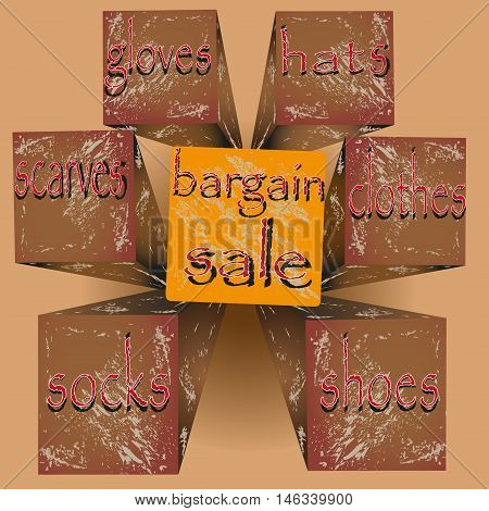 Vector illustration bargain sale  Image of a sign or a booklet for advertising bargain or sale of goods with an indication on the cube in perspective